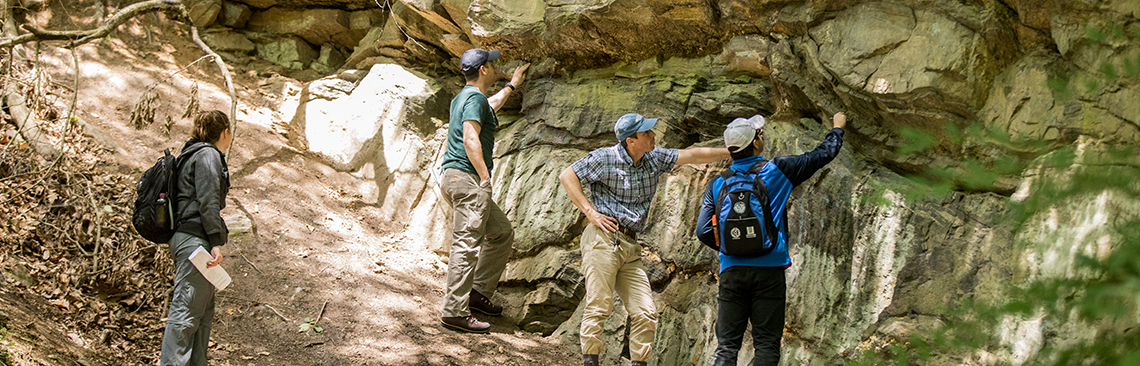 Master of Science in Applied Geosciences graduate program students out in the field